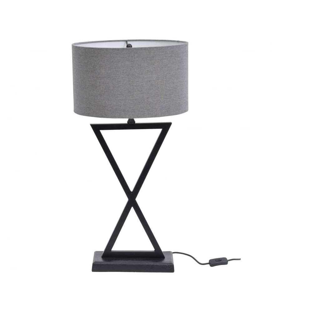 Libra Company Wardour 700075 Matt Black Cross Pattern Table Lamp With Grey Shade