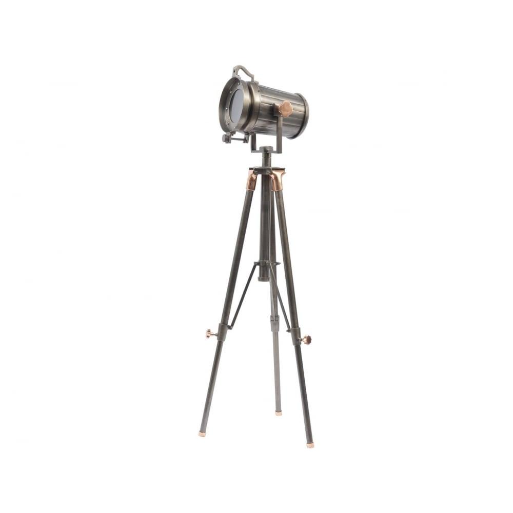 Libra Company Charlie 700124 Copper And Satin Grey Spotlight Tripod Floor Lamp