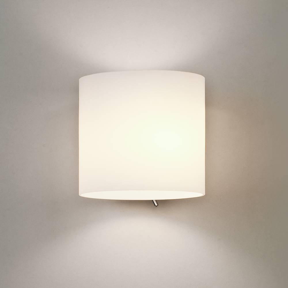 Astro Lighting Luga 0411 Switched Surface Wall Light In Painted Silver With Opal Gl
