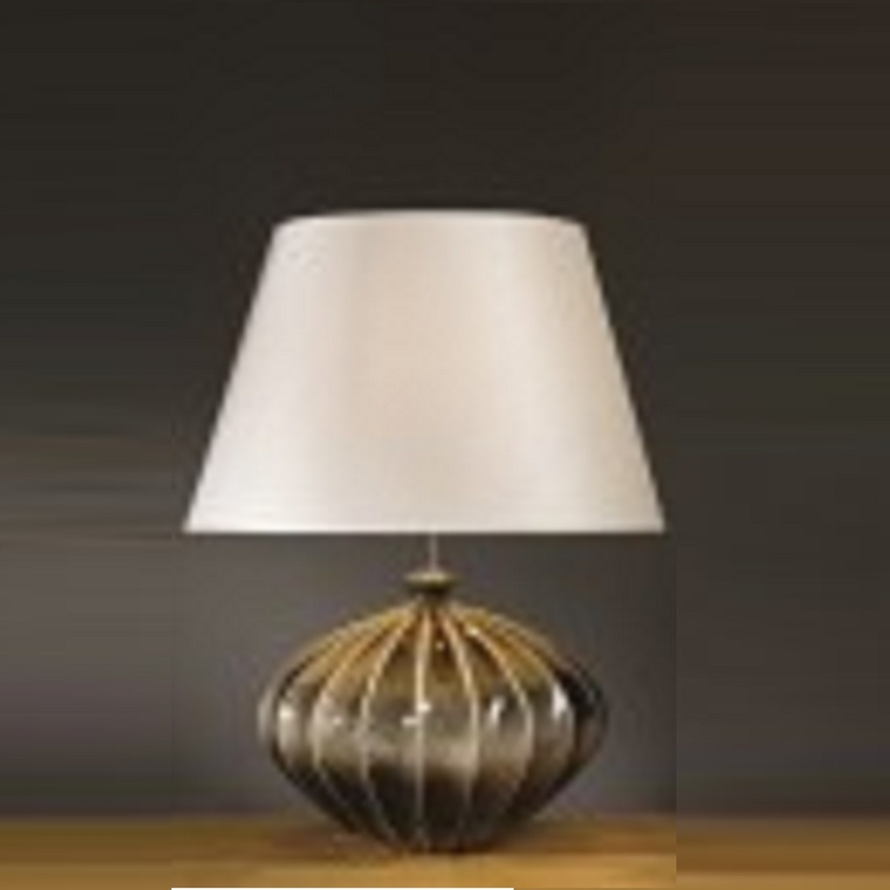 elstead lighting ribbed pumpkin black gold table lamp. Black Bedroom Furniture Sets. Home Design Ideas