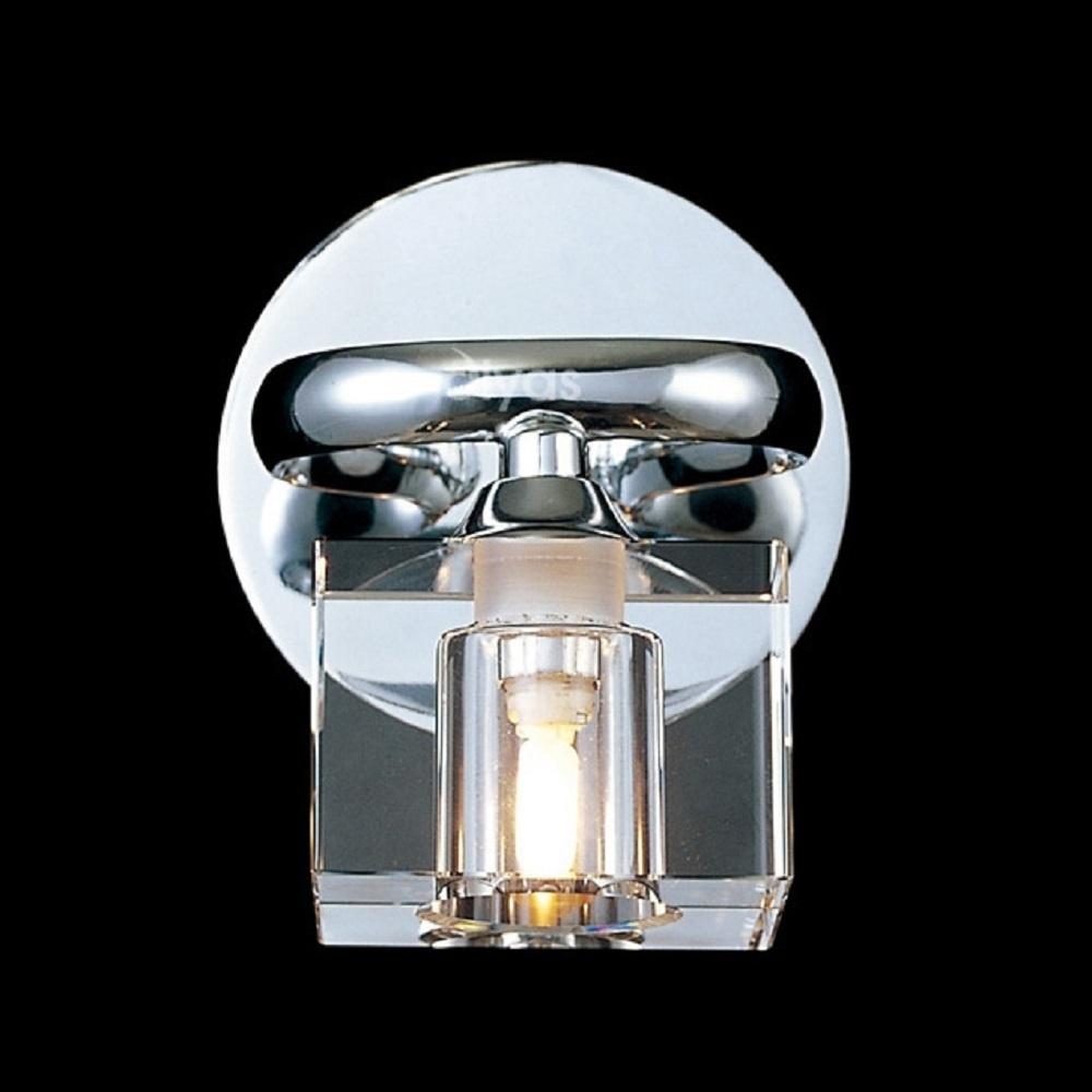 Crystal Wall Lamp Shades : Diyas UK Sisco IL50361 Chrome Wall Lamp & Crystal Glass Shades - Diyas UK from Lightplan UK