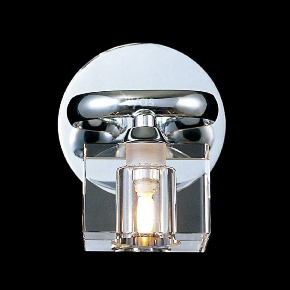 Wall Lamp Shades Glass : Diyas UK Sisco IL50361 Chrome Wall Lamp & Crystal Glass Shades - Diyas UK from Lightplan UK